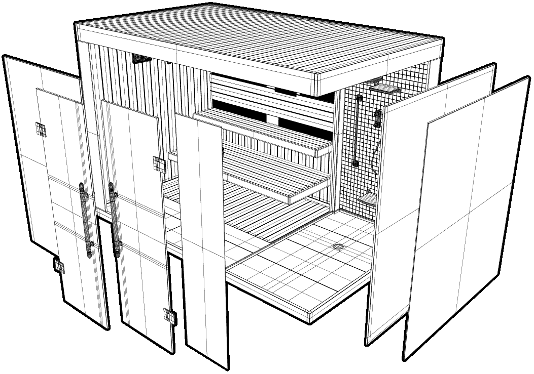 Bespoke commercial sauna layout