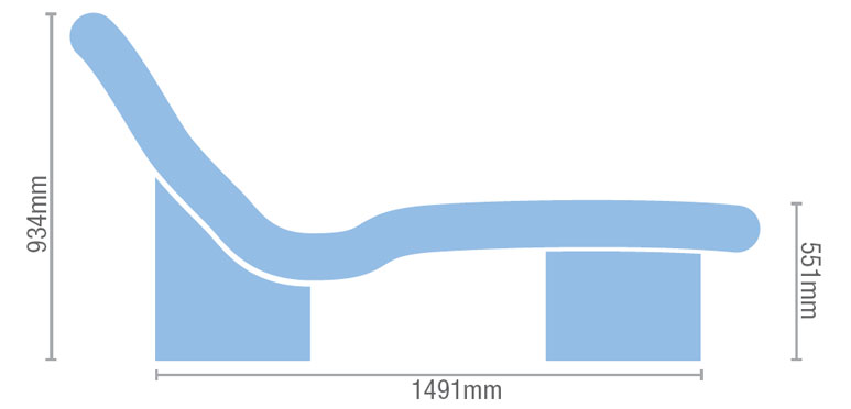 Product dimensions of the Devon heated tiled spa lounger