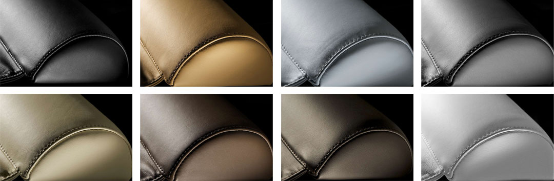 Spa lounger headrest finishes include: Linen, Caramel, Tobacco, Indiana, Grey, Dark Grey, White, Black