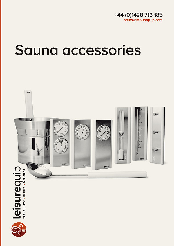 Leisurequip sauna and steam room accessories.